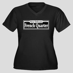 French Quarter Street Sign Women's Plus Size V-Nec