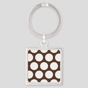 Large Polka Dots: Chocolate Brown Square Keychain
