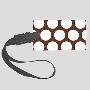 Large Polka Dots: Chocolate Brow Large Luggage Tag