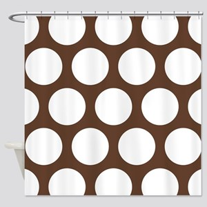 Large Polka Dots Chocolate Brown Shower Curtain