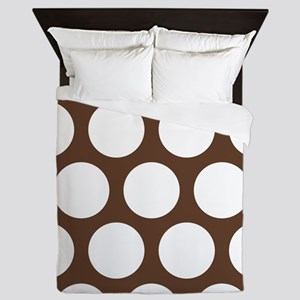 Large Polka Dots: Chocolate Brown Queen Duvet