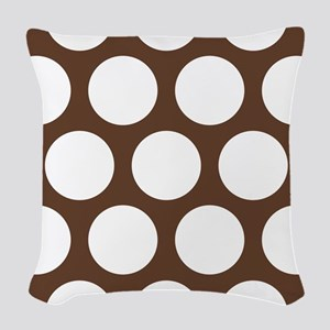 Large Polka Dots: Chocolate Br Woven Throw Pillow