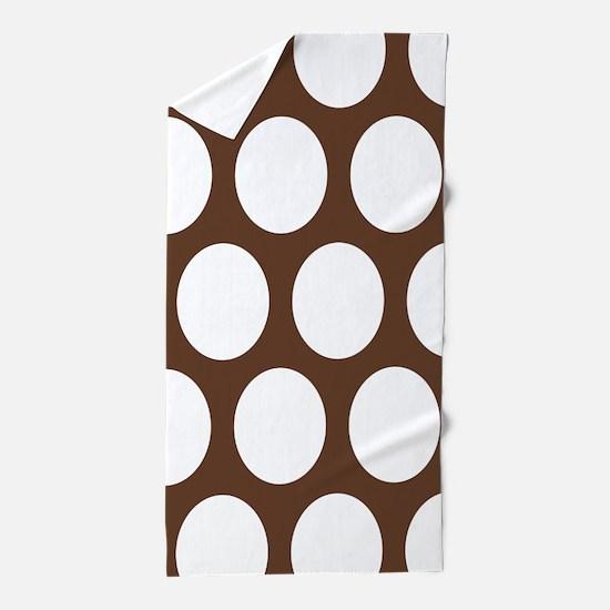 Large Polka Dots: Chocolate Brown Beach Towel