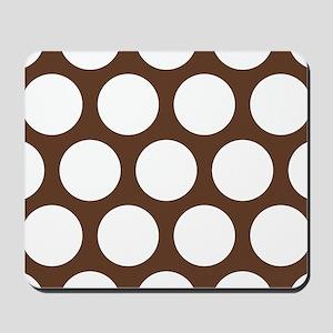 Large Polka Dots: Chocolate Brown Mousepad