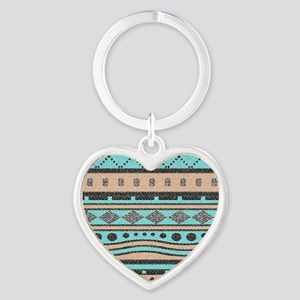 Peach And Turquoise Tribal Pattern Keychains