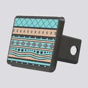 Peach And Turquoise Tribal Rectangular Hitch Cover