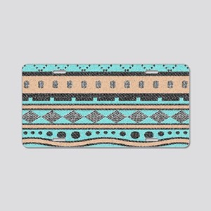 Peach And Turquoise Tribal Aluminum License Plate