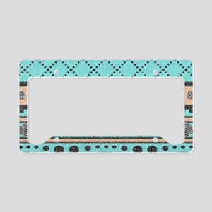 Peach And Turquoise Tribal Pa License Plate Holder