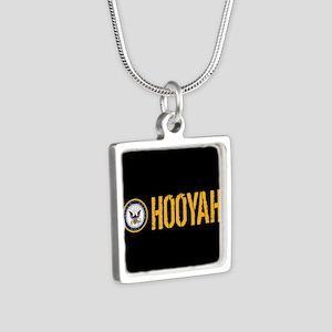 U.S. Navy: Hooyah (Black) Silver Square Necklace