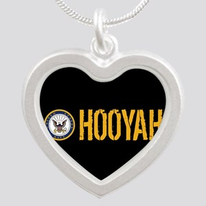 U.S. Navy: Hooyah (Black) Silver Heart Necklace