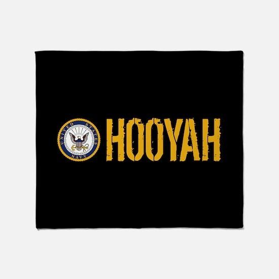 U.S. Navy: Hooyah (Black) Throw Blanket