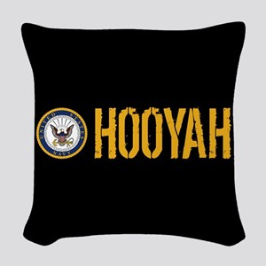 U.S. Navy: Hooyah (Black) Woven Throw Pillow