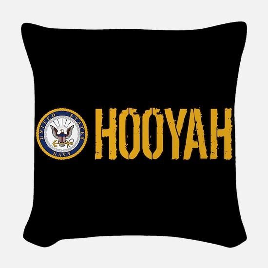 U.S. Navy: Hooyah (Black) Woven Throw Pillow