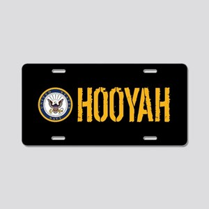 U.S. Navy: Hooyah (Black) Aluminum License Plate