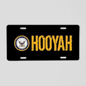 U.S. Navy: Hooyah (Black) Aluminum License Plate