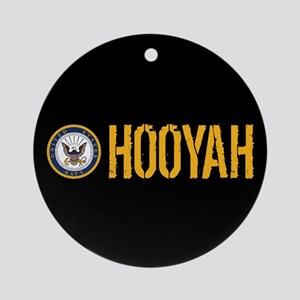 U.S. Navy: Hooyah (Black) Round Ornament