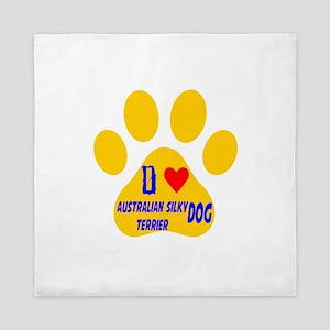 I Love Australian Silky Terrier Dog Queen Duvet