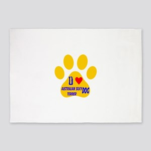 I Love Australian Silky Terrier Dog 5'x7'Area Rug