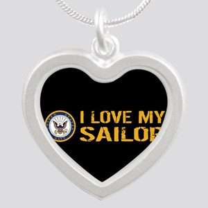 U.S. Navy: I Love My Sailor Silver Heart Necklace