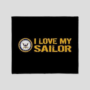 U.S. Navy: I Love My Sailor (Black) Throw Blanket
