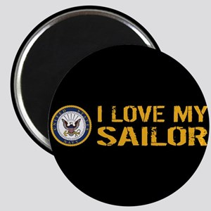 U.S. Navy: I Love My Sailor (Black) Magnet