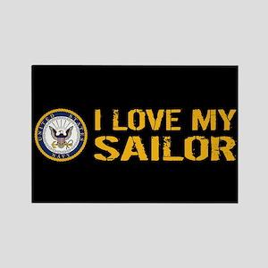 U.S. Navy: I Love My Sailor (Blac Rectangle Magnet