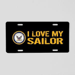 U.S. Navy: I Love My Sailor Aluminum License Plate