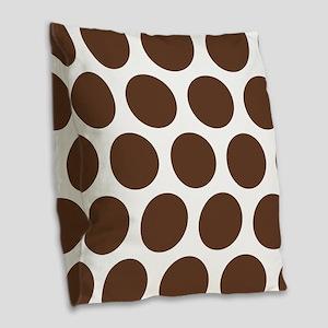 Large Polka Dots: Chocolate Br Burlap Throw Pillow