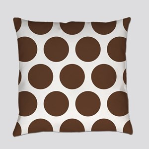 Large Polka Dots: Chocolate Brown Everyday Pillow
