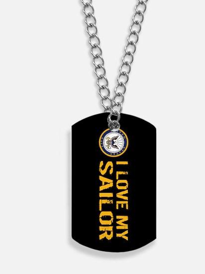 U.S. Navy: I Love My Sailor (Black) Dog Tags