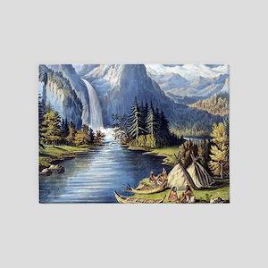 vintage native american landscape 5'x7'Area Rug