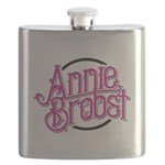 AB logo (pink print, black circle) Flask