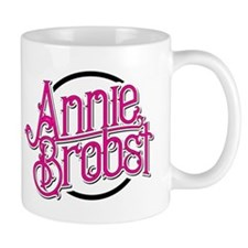 AB logo (pink print, black circle) Mugs