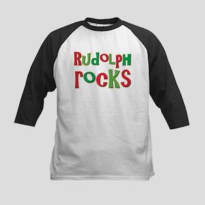 Rudolph Rocks Christmas Reindeer Kids Baseball Jer