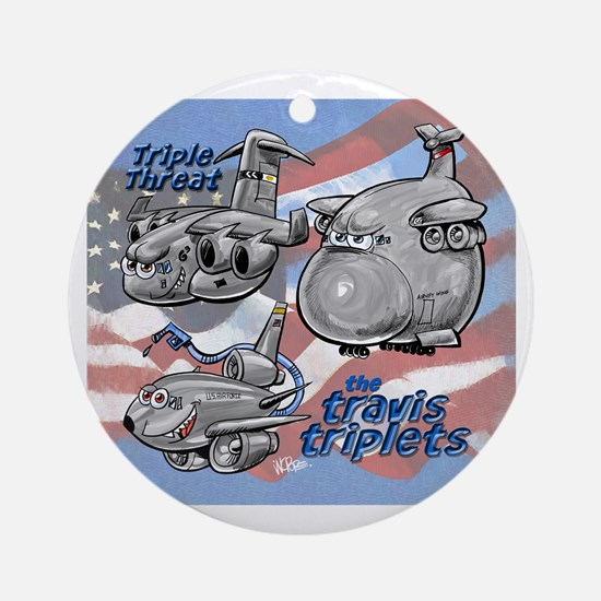 Travis AFB Triplets Ornament (Round)