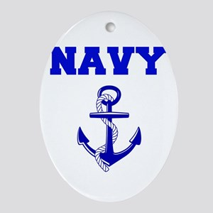 Navy Oval Ornament