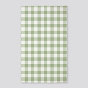 Sage Green Gingham Checked Pattern Area Rug