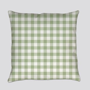 Sage Green Gingham Checked Pattern Everyday Pillow