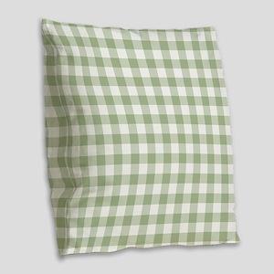 Sage Green Gingham Checked Pat Burlap Throw Pillow