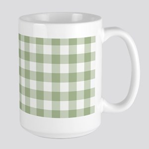 Sage Green Gingham Checked Pattern Mugs