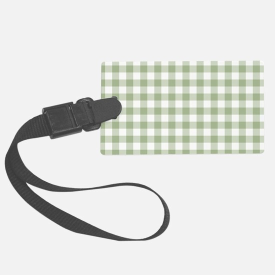 Sage Green Gingham Checked Patte Luggage Tag