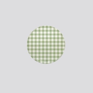 Sage Green Gingham Checked Pattern Mini Button