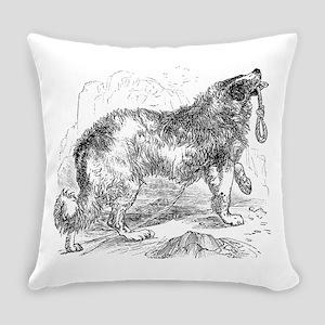 Vintage Border Collie Dog Dogs Bla Everyday Pillow