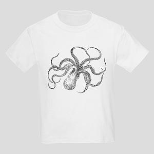 Vintage Octopus Ocean Life Black White T-Shirt