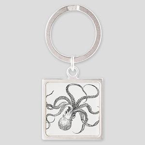 Vintage Octopus Ocean Life Black White Keychains