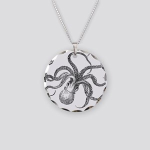Vintage Octopus Ocean Life B Necklace Circle Charm