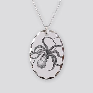 Vintage Octopus Ocean Life Bla Necklace Oval Charm