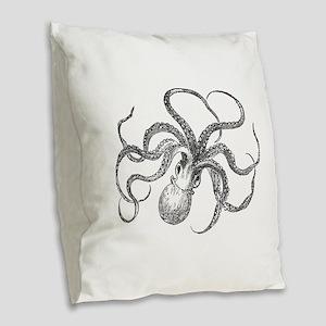 Vintage Octopus Ocean Life Bla Burlap Throw Pillow