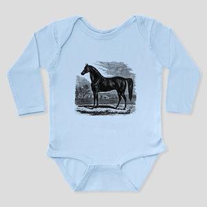 Vintage Horse Black White Horses Body Suit