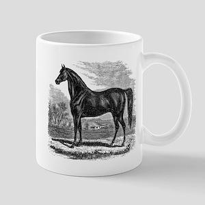 Vintage Horse Black White Horses Mugs